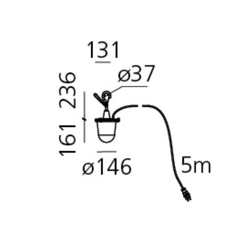Artemide - Tolomeo Lampione LED Pendelleuchte mit Haken - Strichzeichnung