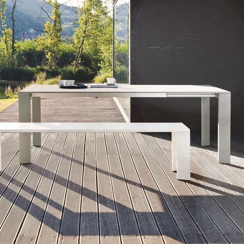 Fast - Grande Arche ausziehbarer Gartentisch  - taupe/L: 160-210/mit 1 Auszugsplatte/ausgelegt für 2 Auszugsplatten