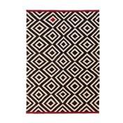 - Mélange Pattern Kilim Woll-Teppich - schwarz-weiß- rot/140x200cm