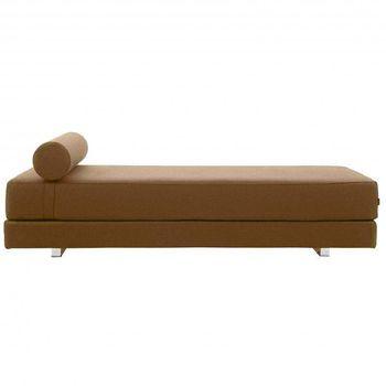 Softline - Lubi Schlafsofa / Day Bed - camel/Keder sand/Stoff Filz 849/mit PU-Schaum Matratze/inkl. Nackenrolle/203x82x65cm