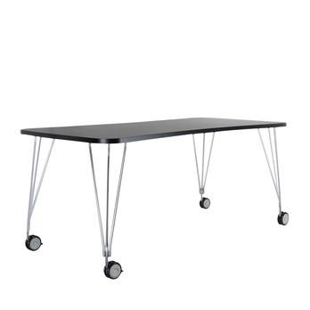 Kartell - Max Tisch mit Rollen 190x90cm - schiefergrau/Gestell verchromter Stahl/mit 4 Rollen