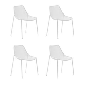 emu - Round Gartenstuhl 4er Set - weiß/pulverbeschichtet/BxHxT 63x79x58cm/4 Stück