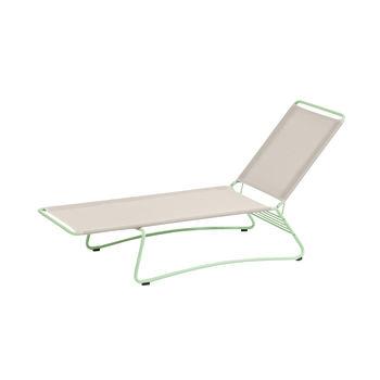 Weishäupl - Balcony Sonnenliege pulverbeschichtet - Gestell pastellgrün/Batyline®hellgrau/206x76x82cm/Kopfteil in 4 Positionen verstellbar