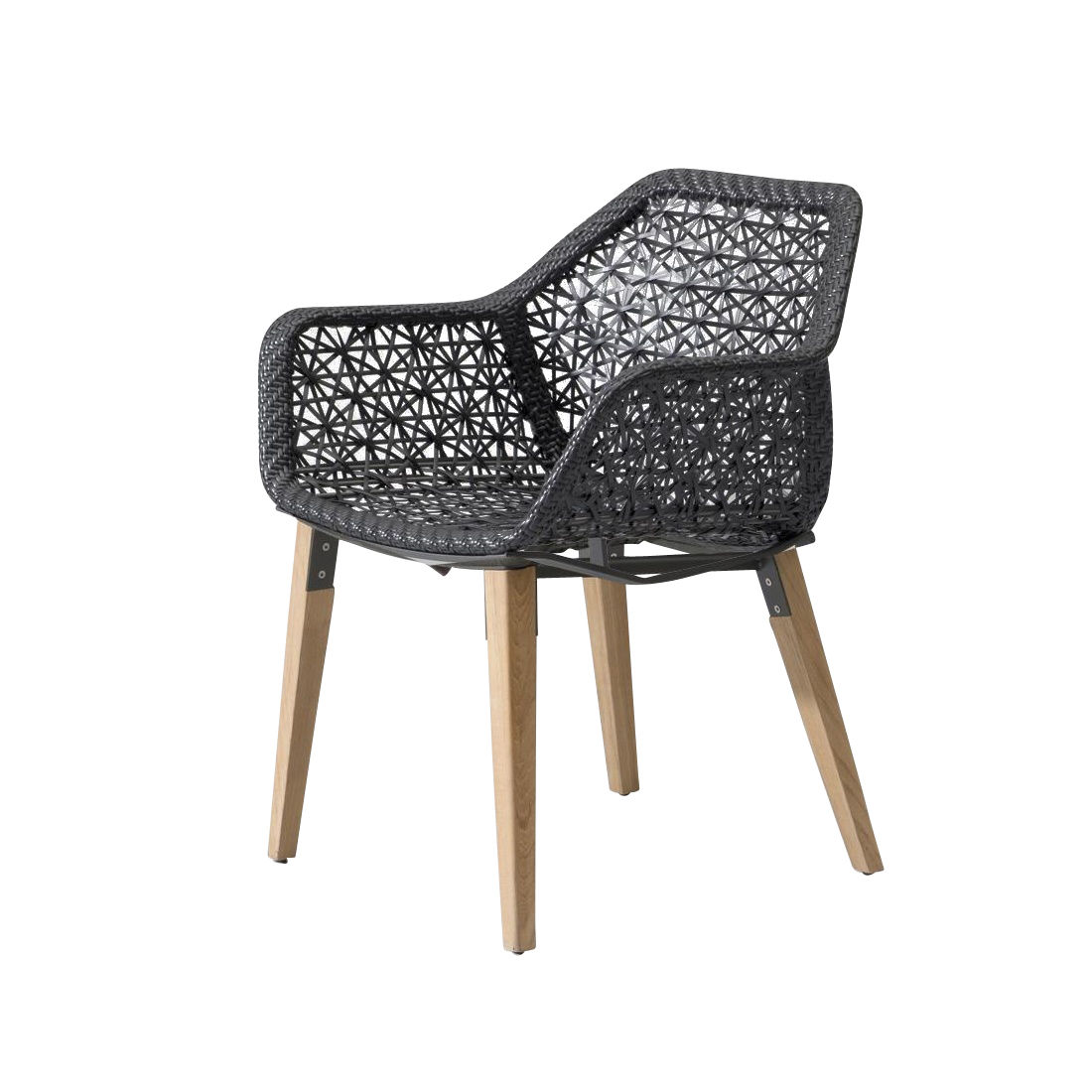 ... Kettal   Maia Garden Armchair Wooden Base   Black 726 Chesnut  Maia/plastic Rope/ ...