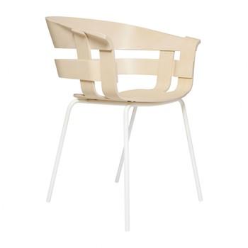 - Wick Armlehnstuhl mit Metallgestell weiß - esche/Gestell weiß