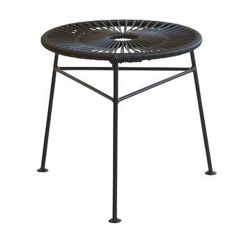 OK Design - Centro Hocker/Beistelltisch - schwarz/PVC/Gestell schwarz/H 42cm/Ø 42cm
