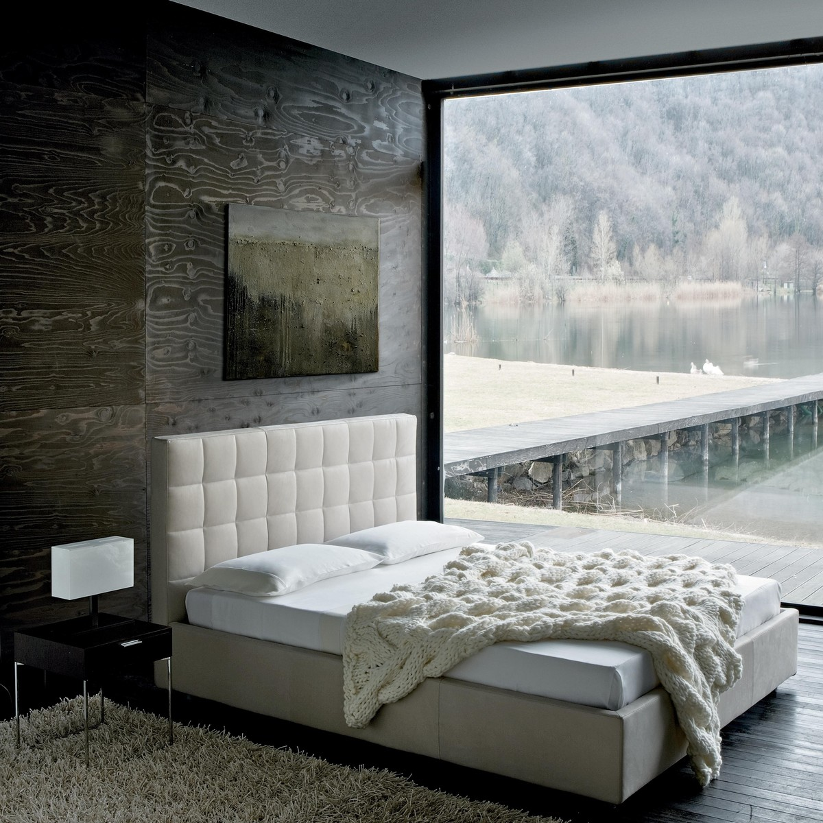 overbox doppelbett mit bettkasten zanotta. Black Bedroom Furniture Sets. Home Design Ideas