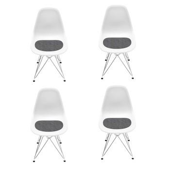 Vitra - Eames DSR Chair Aktionsset 4er Set H43cm - weiß/neue Höhe/inkl. 4 Sitzauflagen in anthrazit/Eiffelturmgestell Chrom