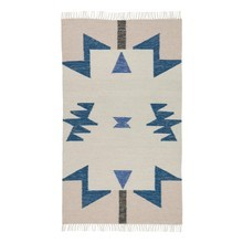 ferm LIVING - ferm LIVING Kelim Blue Triangles Rug