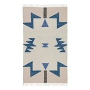 ferm LIVING - Kelim Blue Triangles Teppich klein
