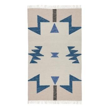 ferm LIVING - Kelim Blue Triangles Teppich klein - rosa/beige/blau/80x140cm/chemisch reinigen