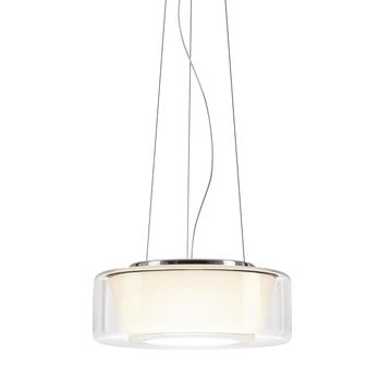 Serien - Curling LED Suspension Lamp M - glass shade clear/reflector opal/transparent/reflector conical/1400lm/2700K/CRI>90/regulation via TRIAC