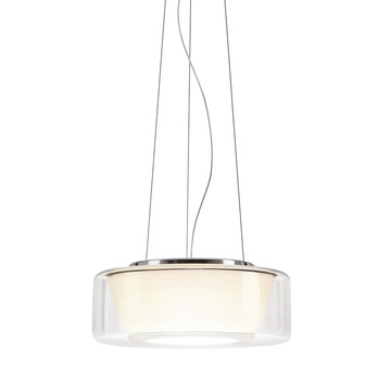 Serien - Curling LED Suspension Lamp M - glass shade clear/reflector opal/transparent/reflector conical/1400lm/2700K/CRI>90/regulation via TRIAC