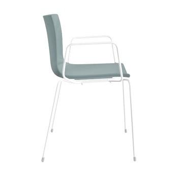 Arper - Catifa 46 0251 Armlehnstuhl einfarbig Gestell weiß - petrol/Außenschale glänzend/innen matt/Gestell weiß matt V12/neue Farbe