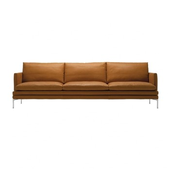 Zanotta - William 3-Sitzer Sofa 226x87x90cm - cognac/Leder Naturale Extra 0414/Gestell alu silber/inkl. 2 Kissen à 55x30cm