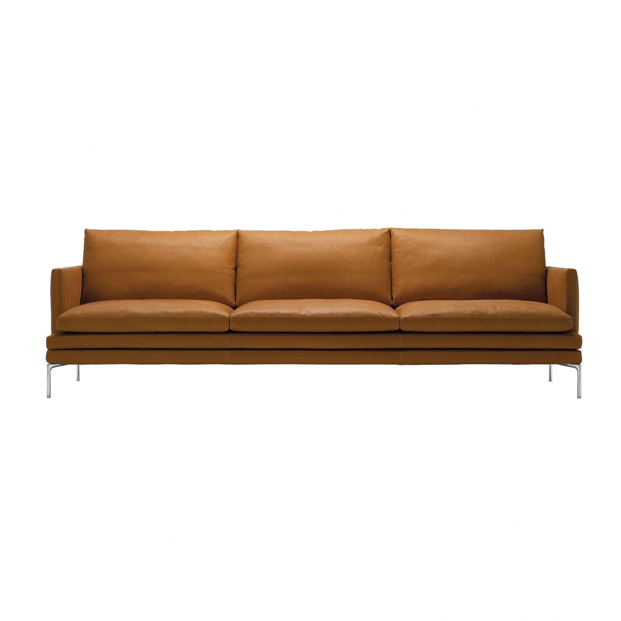 Zanotta William 3 Seater Sofa 226x87x90cm Cognac Leather Naturale Extra