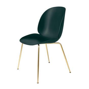 Gubi - Beetle Dining Chair Stuhl Gestell Messing - grün/BxHxT 56x87x58cm/Gestell Messing