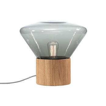 Brokis - Muffins Wood 01 Bodenleuchte - rauchgrau/Holzständer Nussbaum/H: 34,6cm x Ø 37cm/Kabel schwarz