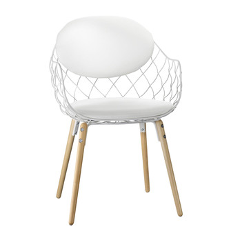 Magis - Piña chair - fabric - white/lacquered/legs beech natural/fabric Star
