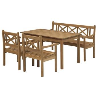 Skagerak - Skagen Garten-Set 4tlg. - teak/1 Tisch, 1 Gartenbank, 2 Gartenstühle