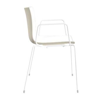 Arper - Catifa 46 0251 Armlehnstuhl zweifarb. Gestell weiß - weiß/elfenbein/Außenschale glänzend/innen matt/Gestell weiß matt V12/neue Farbe