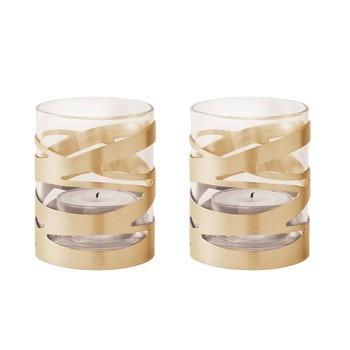 Stelton - Tangle Teelichthalter 2er Set - messing/glänzend/H 7cm/Ø 6cm2 Stück