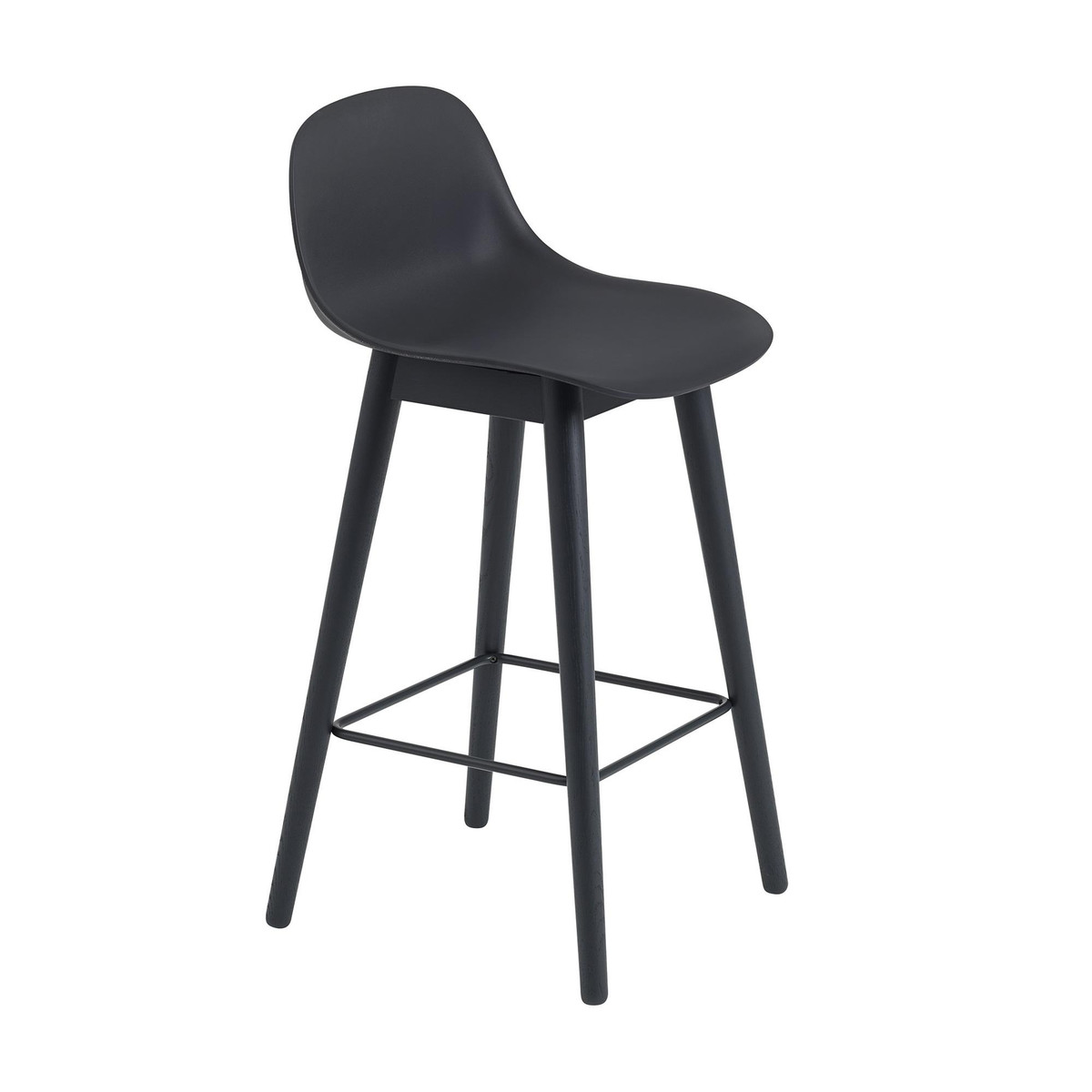 Fiber Bar Stool With Backrest Wood Base 65cm - black/seating plastic/WxHxD  sc 1 st  AmbienteDirect & Fiber Bar Stool With Backrest Wood Base | Muuto | AmbienteDirect.com islam-shia.org