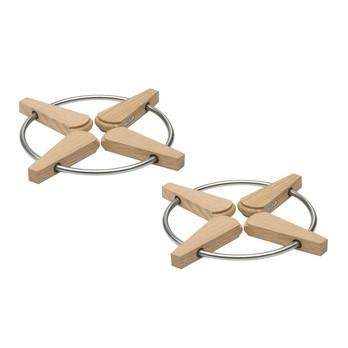 Skagerak - Folding Trivet Faltbare Topfuntersetzer 2tlg. - eiche/H 1,5cm, Ø 20/28cm/2 Stück