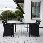 Skagerak - St. Thomas-Set Gardentable + 4 Chairs - black/SunLoom/150x90cm/4 St. Thomas Garden Chairs