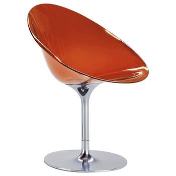 Kartell - Ero/S/ Drehstuhl - orange/transparent/Drehfuß aus glänzendem Aluminium