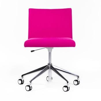 Arper - Masai Drehstuhl mit Rollen - pink/Stoff Tonus 3/selbstbremsende Rollen/Gaslifter zur Höhenverstellung