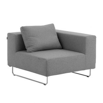 Softline - Ohio Sofa-Eckelement 98x98cm - hellgrau/Filz 620/Gestell Chrom/inkl. 1 Rückenkissen 62x45cm