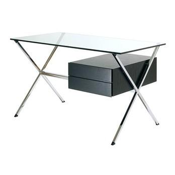 Knoll International - Albini Schreibtisch - Eiche schwarz gebeizt/transparent/2 Schubladen/BxHxT 122x70x67cm/Gestell hochglänzend verchromt