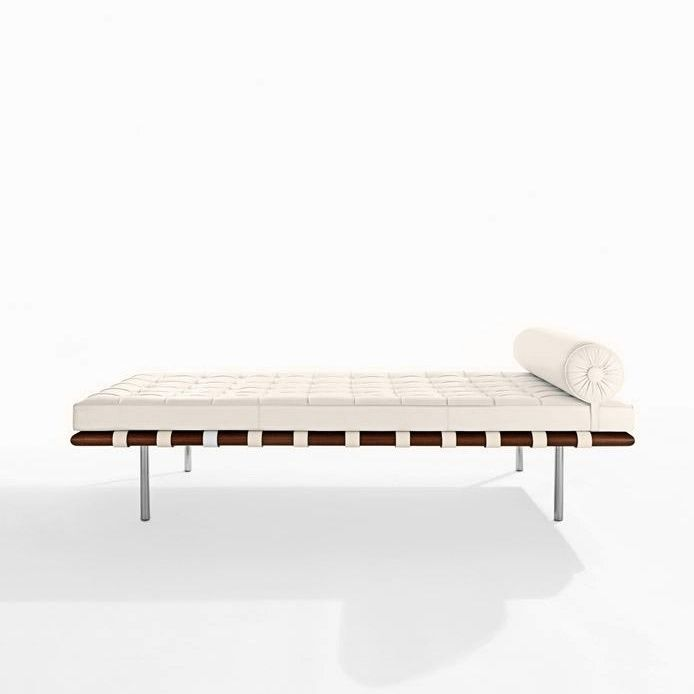 Knoll International   Barcelona Mies Van Der Rohe Daybed   Creme/frame  Chrome/leather