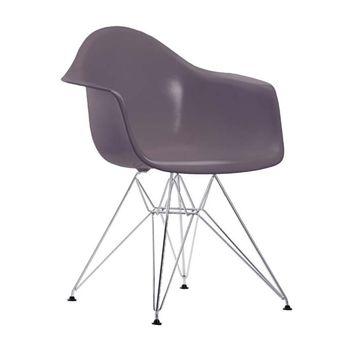 Vitra - Eames Plastic Armchair DAR Armlehnstuhl H41cm - basalt/Polypropylen/Eiffelturmgestell chrom/Originalhöhe