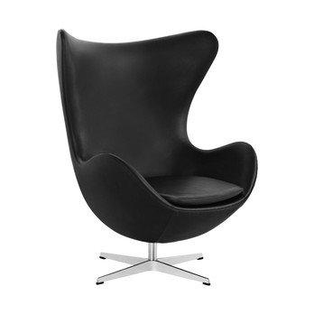 Fritz Hansen - Egg Chair/ Das Ei Loungesessel Leder - schwarz/Gestell aluminium/Classic Leder