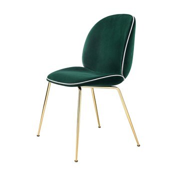 Gubi - Beetle Dining Chair Samt Gestell Messing