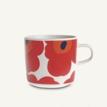 Marimekko - Oiva/Unikko Kaffeetasse - weiß/rot/0,2L/H: 7,5cm