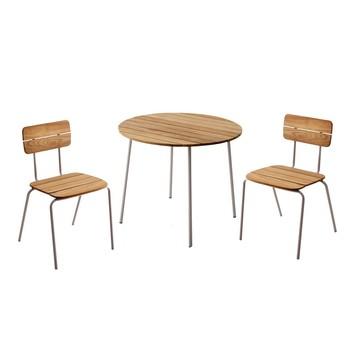 Skagerak - Flux Balkonset/Gartenset 3tlg. - teak/1 Tisch Ø 89cm , 2 Stühle