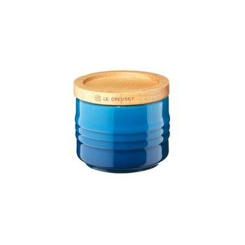 Le Creuset - Le Creuset Zuckerdose mit Holzdeckel - blau marseille