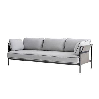 HAY - Can 3-Sitzer Sofa - hellgrau/Stoff Surface 120/247x82x89.5cm/Gestell schwarz/Rück-/Seitenteil Canvas grau