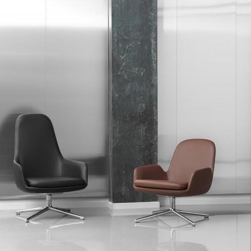 Normann Copenhagen - Era Lounge Chair High Drehstuhl Leder Alu