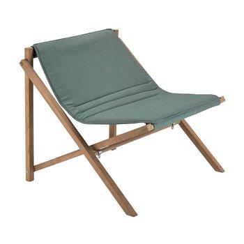 Skagerak - Aito Loungsessel - olivgrün/klappbar/Gestell Teak/75.7x70x80.7cm