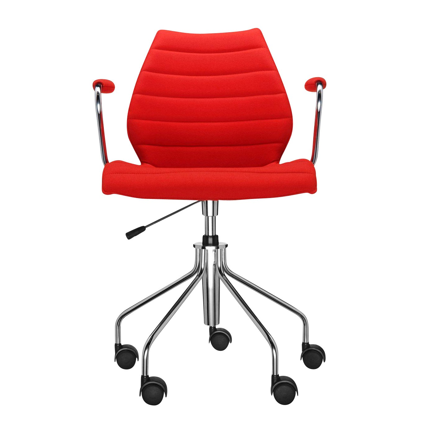 Kartell Maui Soft Office Chair With Armrests Red Fabric