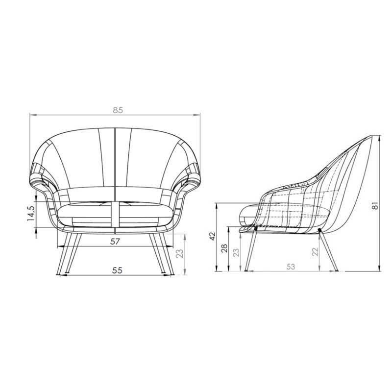 Gubi Bat Lounge Chair Low Back Black Base Ambientedirect