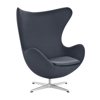 Fritz Hansen - Egg Chair/ Das Ei Loungesessel Stoff - anthrazit/Gestell aluminium/Stoff Fame 60019