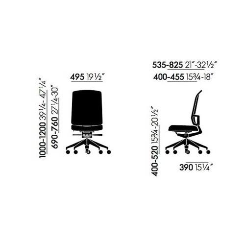 Vitra - AM Chair Bürostuhl ohne Armlehnen - Strichzeichnung