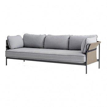 HAY - Can 3-Sitzer Sofa - hellgrau/Stoff Surface 120/247x82x89.5cm/Gestell charcoal/Rück-/Seitenteil Canvas army
