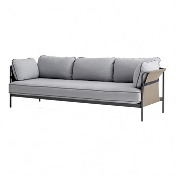 HAY - Can 3-Sitzer Sofa - hellgrau/Stoff Surface 120/247x82x89.5cm/Gestell charcoal/Rück-/Seitenteil Canvas army