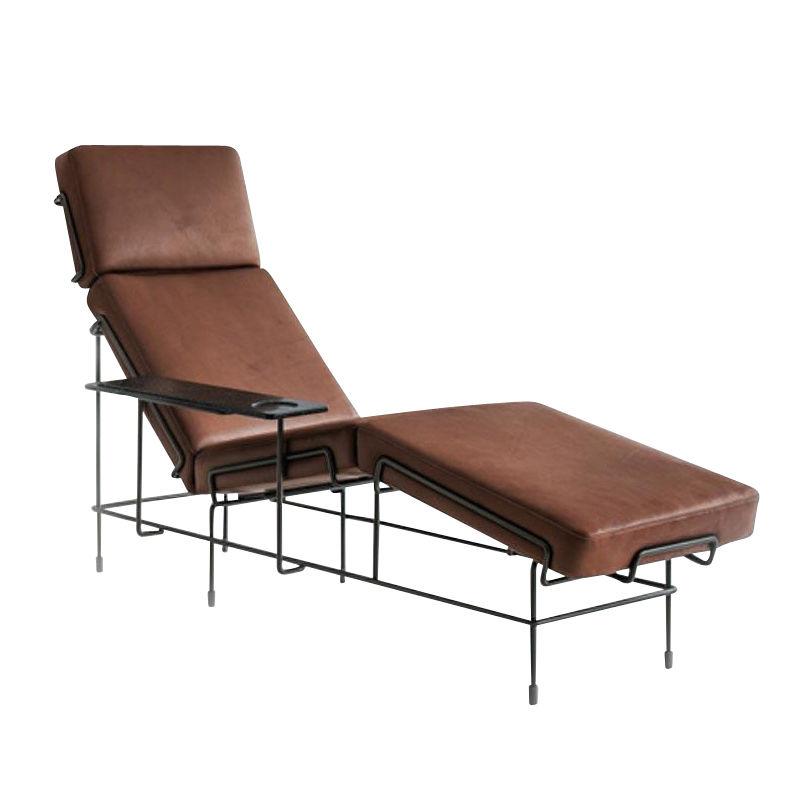 magis traffic chaise lounge liege dunkelbraunleder european bovine - Liege Chaiselongue
